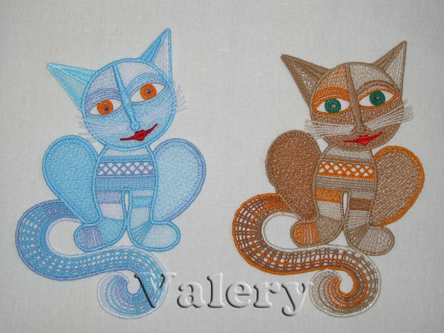 Lace Kitty Machine Embroidery Design