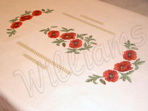 Tablecloth with poppies projects machine embroidery