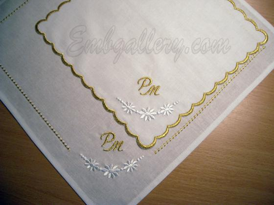 Table napkins projects with machine embroidery