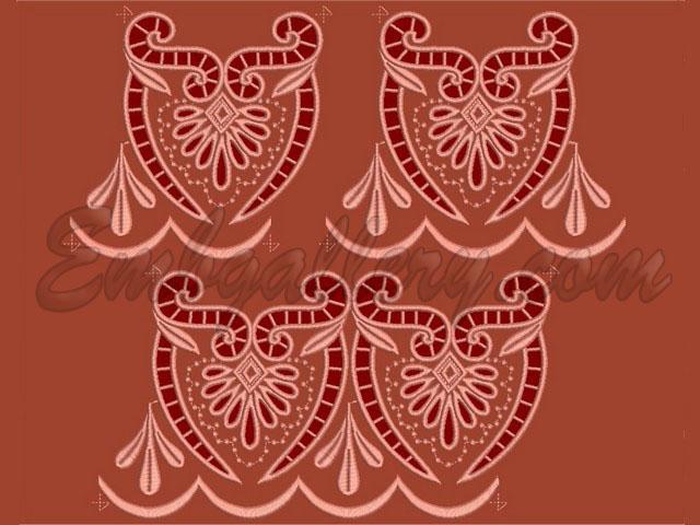 Fringe Cutwork Leaves And Twirls Machine Embroidery Design