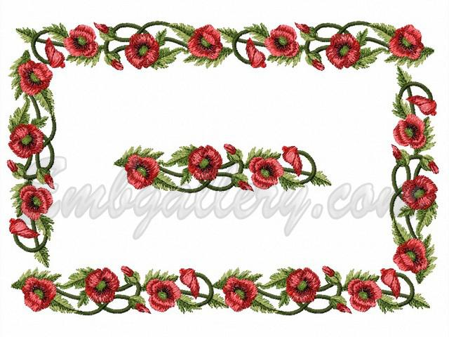Quot poppies border machine embroidery design