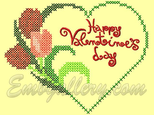 Happy Valentines Day Machine Embroidery Design