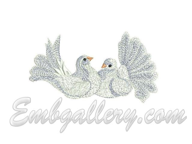 Quot wedding towel roses white pigeons machine embroidery