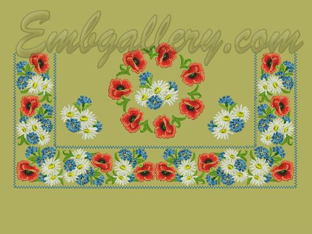 Set For Tablecloth Poppy Seed Cake Machine Embroidery Design