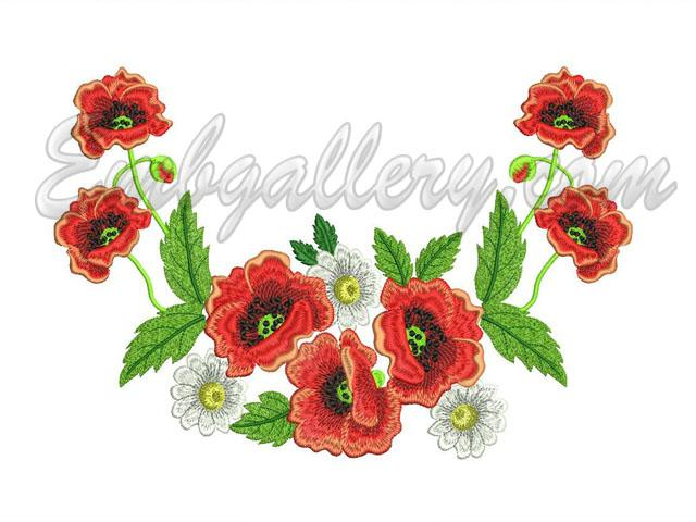 QuotPoppiesCamomilesquot A Neck  Machine Embroidery Design