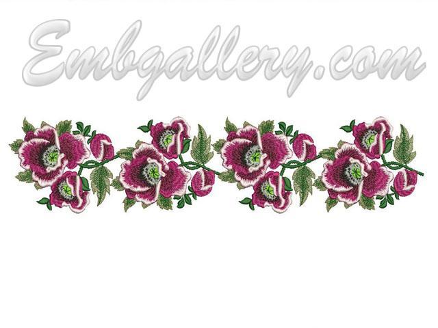 Quot wild mallow border machine embroidery design