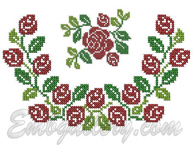 Cross stitch machine embroidery