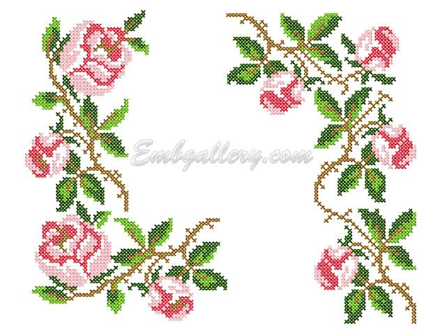 Roses In The Cross Stitch Technique Machine Embroidery Design