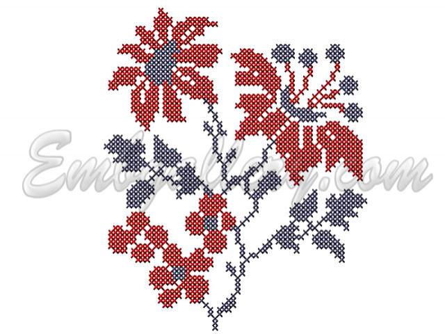 Pin the scarlet flower free machine embroidery design on