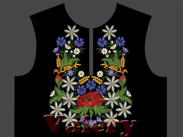Quot neck with poppies and daisies machine embroidery design