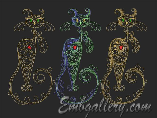 Cats Family Machine Embroidery Design