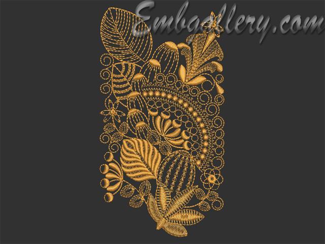 Quot golden umbrellas machine embroidery design