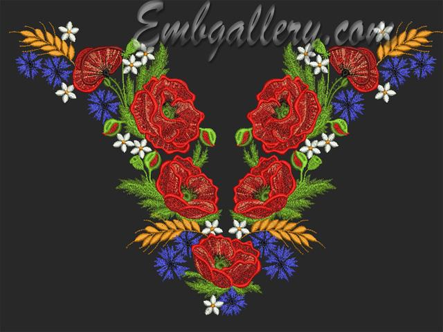 Quot neck with poppies machine embroidery design
