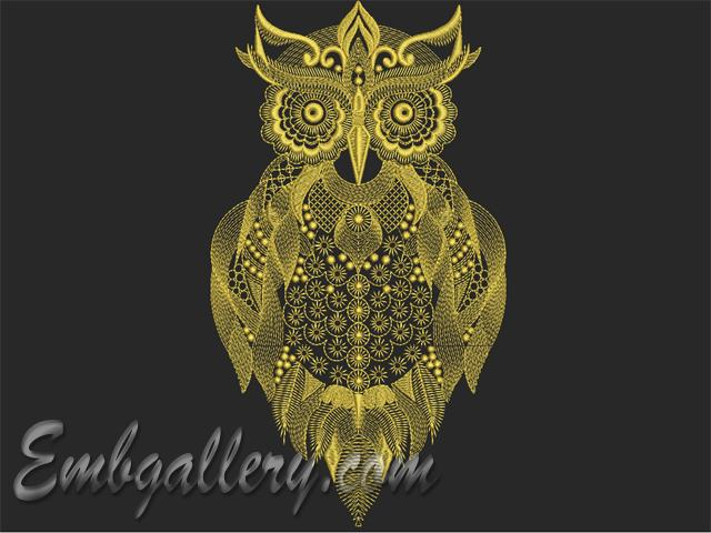 Quot owl machine embroidery design