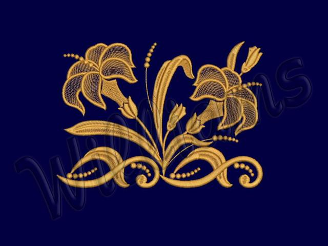 machine embroidery designs set two lilies