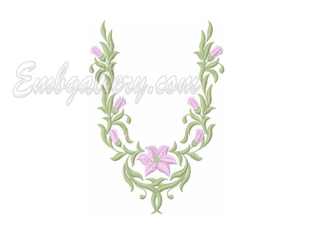 Neck With Lily Machine Embroidery Design