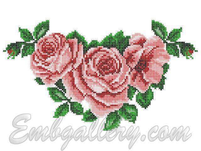 Embroidery patterns of roses makaroka