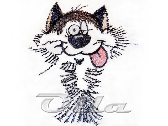 Funny cat free machine embroidery design