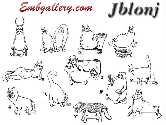 Cat Horoscope Free Machine Embroidery Design