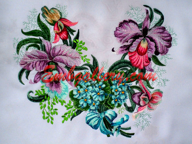 QuotRoyal Orchidsquot_the Neck_140x200mm  Machine Embroidery Design
